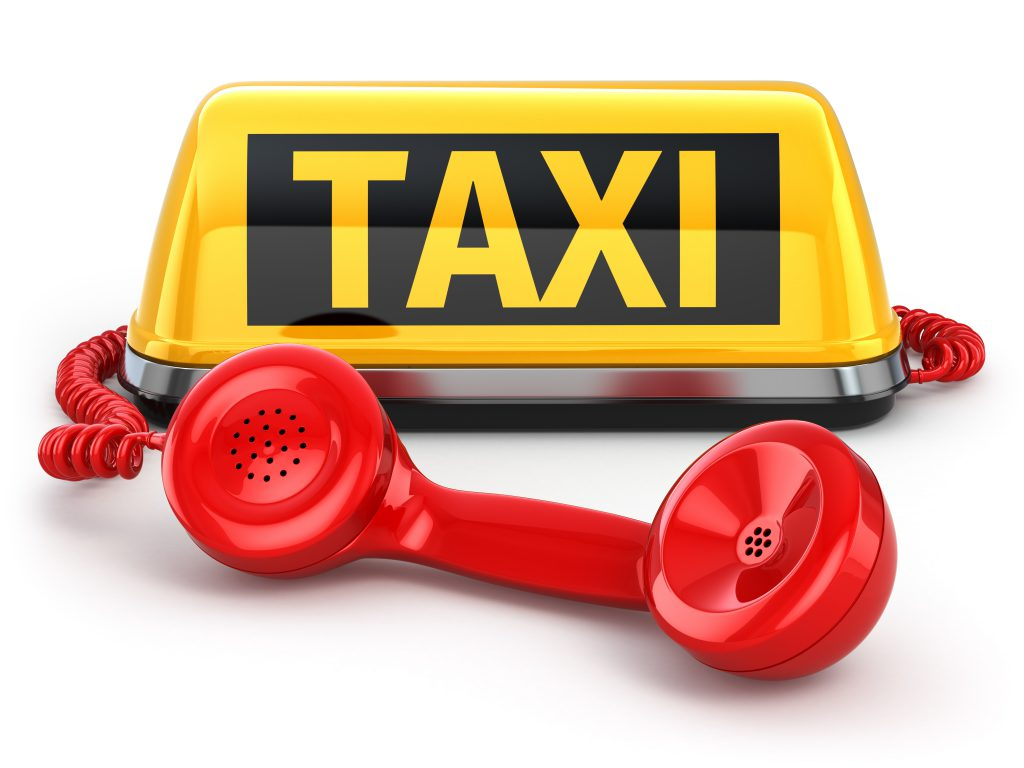 Taxi Schild und Telefon